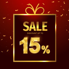 Sale discount 15 percent in gift box. Vector Low polygonal font. Special offer sale gold tag isolated vector. Discount offer price label, symbol for advertising campaign on shopping day.