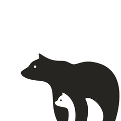 Bear logo icon, gray bear vector illustration
