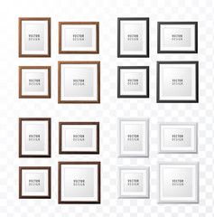 Set of Realistic Minimal Isolated Frames on Transparent Background for Presentations . Vector Elements