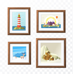Realistic Minimal Isolated Wood Frame with Art Scene on TransparentBackground for Presentations . Vector Elements