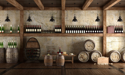 Old wine cellar with bench for tasting