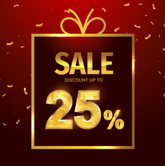 Sale discount 25 percent in gift box. Vector Low polygonal font. Special offer sale gold tag isolated vector. Discount offer price label, symbol for advertising campaign on shopping day.