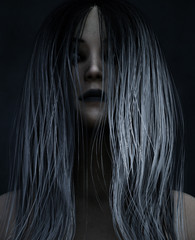 3d illustration of Ghost woman in the dark,Horror background