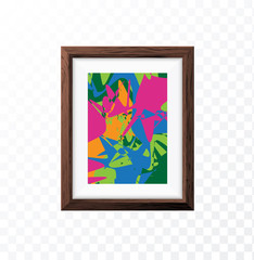 Realistic Minimal Isolated Wood Frame with Abstract Art Scene on Transparent Background for Presentations . Vector Elements