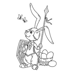 Bunny knight with a lance and shield. Vector illustration isolated on white background. Page for coloring book, greeting card, print. Hand-drawn vector illustration. Black and white illustration.