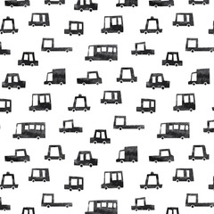 Hand drawn vector illustration of black car pattern on white background. Abstract doodle wallpaper.