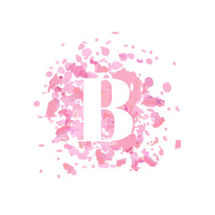 Abstract letter B logo, Beauty salon logo design template. Letter B on a pink background crumbly powder, rouge. Makeup fashion beauty vector illustration.