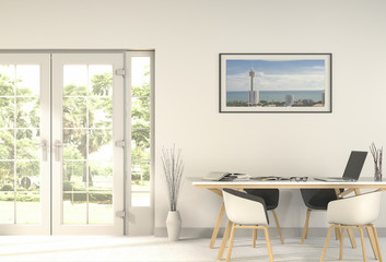 interior modern living white room and green landscape in door. 3D rendering