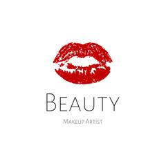 Lips logo. Red print lip, beauty logo template. Logo for make-up artist, beauty studio, make up studio or salon. Decorative cosmetic, makeup, beauty salon, stylist vector logo design template.