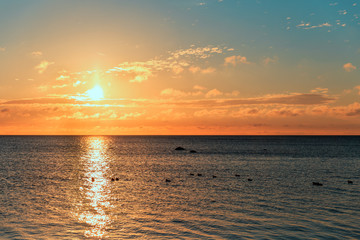 Panorama of beautiful sunset on Baltic sea.