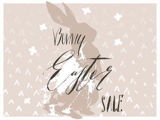 Hand drawn vector abstract graphic scandinavian collage Happy Easter cute bunny silhouette illustrations greeting card and Bunny Easter Sale handwritten calligraphy isolated on white background
