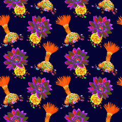Cactus with orange and purple flowers, seamless pattern design in bright neon colors, hand painted watercolor illustration, dark blue background