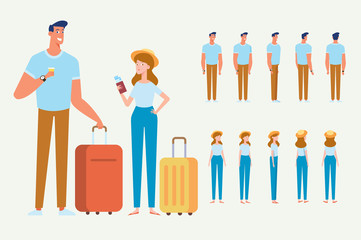 People traveling design. Happy couple travel together. Smiling man holding passport ready for vacation travel at the airport. Flat Vector illustration. Character design.