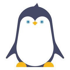 Cute penguin character, isolated.