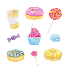 Set of sweets with donuts, candy, capcake, lollipop, chupa chups, macaroons and cup of coffee on white background. Colorful watercolor pattern.