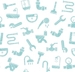 Plumbing and water pipeline, seamless pattern, shading pencil, white, vector. Plumbing tools and spare parts, showers and plumbing parts. Seamless pattern.