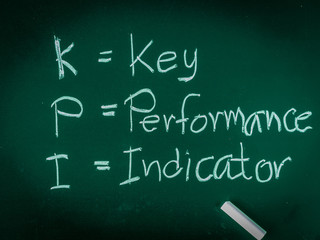 KPI alphabet with the meaning on white table background.