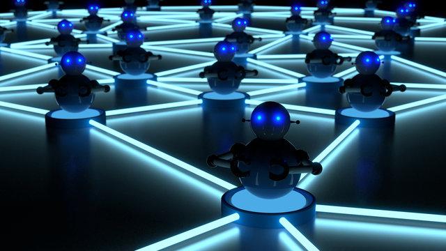 Botnet concept with glowing eyes platform bots