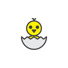Newborn chicken in eggshell filled outline icon, line vector sign, linear colorful pictogram isolated on white. Hatched chicken symbol, logo illustration. Pixel perfect vector graphics