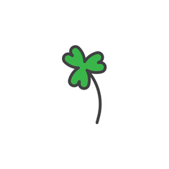 Clover flower filled outline icon, line vector sign, linear colorful pictogram isolated on white. Shamrock symbol, logo illustration. Pixel perfect vector graphics