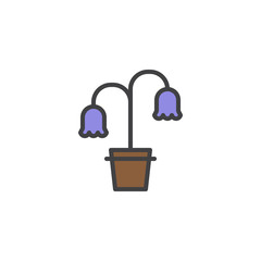 Flowers in flower pot filled outline icon, line vector sign, linear colorful pictogram isolated on white. Symbol, logo illustration. Pixel perfect vector graphics