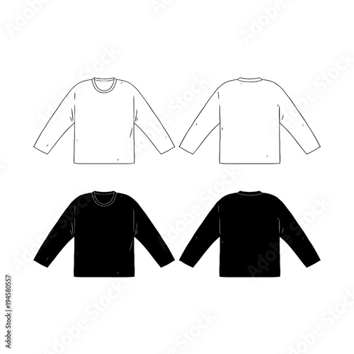 Hand drawn vector illustration of blank long sleeve t-shirts ...