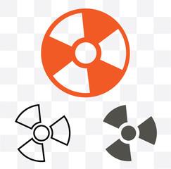 radiation symbol icon on white background