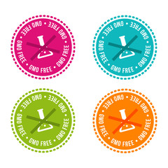 Wall Mural - Set of Allergen free Badges. GMO free. Vector hand drawn Signs. Can be used for packaging Design.