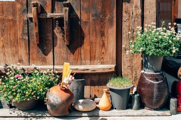 Flower pot in front of Korean old house