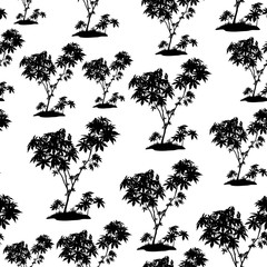 Seamless Pattern, Castor Plant, Black Silhouette Isolated on Tile White Background. Vector