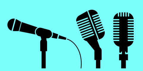 Profile of microphones. Vector icon.