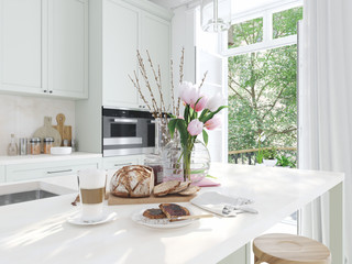 breakfast in a nice kitchen interior. springtime. 3d rendering