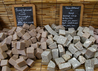 Saint Paul / La Reunion: Homemade organic natural soap at a market stand on the open market on the seafront esplanade
