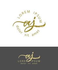 A J. Initials Monogram Logo Design. Dry Brush Calligraphy Artwork