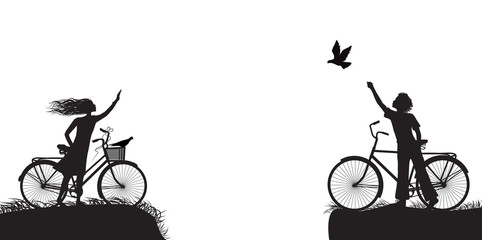 boy and girl on bicycle waving each other and boy frees the pigeon, two lovers on the bicycle, black and white