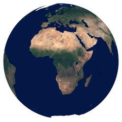 Earth from space. Satellite image of planet Earth. Photo of globe. Isolated physical map of Africa (Nigeria, Egypt, South Africa, Algeria, Morocco, Angola). Elements of this image furnished by NASA.