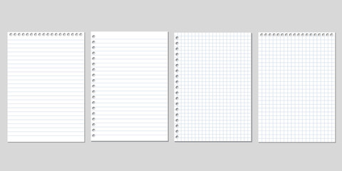 Set of four realistic vector illustration of blank sheets of square and lined paper from a block isolated on a gray background