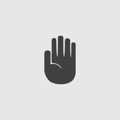 Hand stop icon in a flat design in a black color