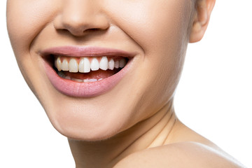 Teeth befor and after care, therapy and whitening. Laughing woman mouth with great teeth over white background. Healthy beautiful female smile.