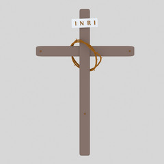 Cross Inri and christ Crown. Isolate. Easy background remove. Easy color change. Easy combine! For custom illustration contact me.