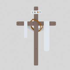 Cross Inri , toga and christ Crown. Isolate. Easy background remove. Easy color change. Easy combine! For custom illustration contact me.