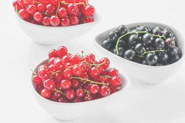Ripe red and black currants in a white dish on a light background.