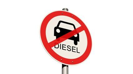 Diesel Fahrverbot Straßenschild - auf weißem Hintergrund