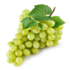 Green grape. Bunch of grape with leaves isolated on white. With clipping path. Full depth of field.