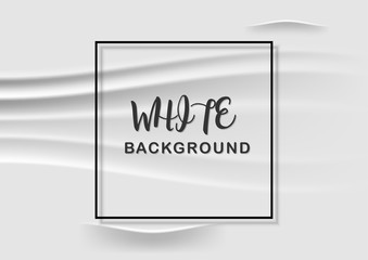 Abstract background White fabric with wrinkles and black frame, vector illustration