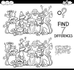 differences game with monkeys coloring book
