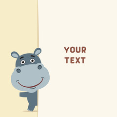 Funny hippo looks out over the fields to text. Template with hippo for cards, invitations or greetings