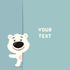 Funny polar bear looks out over the fields to text. Template with polar bear for cards, invitations or greetings