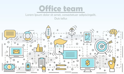 Office team advertising vector illustration in flat linear style