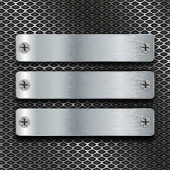 Metal brushed plates with screws on perforated background